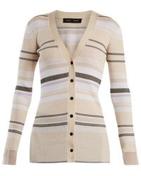 Proenza Schouler - V-neck Ribbed-knit Striped Cardigan - Lyst