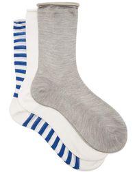 Raey - Set Of Three Roll-top Silk Socks - Lyst
