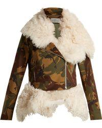 Preen By Thornton Bregazzi - Camouflage Print Shearling Biker Jacket - Lyst