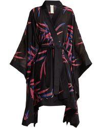 Diane von Furstenberg - Fern Print Cotton And Silk Blend Kimono Robe - Lyst