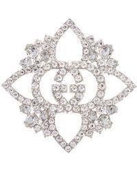 Gucci - Gg Crystal Embellished Brooch - Lyst