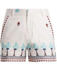 Le Sirenuse - Palm Border-print Cotton Shorts - Lyst