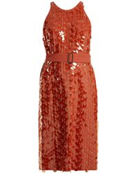 Bottega Veneta - Sequin And Eyelet-embellished Crepe Dress - Lyst