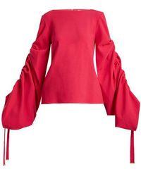 OSMAN - Cyllene Gathered-sleeves Crepe Top - Lyst
