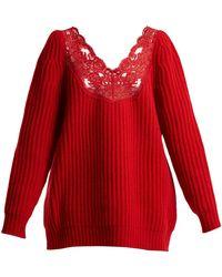 Balenciaga - Deep V-neck Chunky-knit Jumper - Lyst