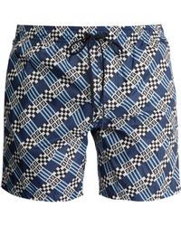 Fendi - Logo And Geometric Print Swim Shorts - Lyst