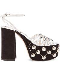 Miu Miu - Stud-embellished Suede Platform Sandals - Lyst