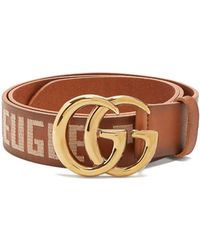 Gucci - Gg Embroidered Leather Belt - Lyst