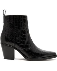 Ganni - Callie Western Crocodile Effect Leather Boots - Lyst