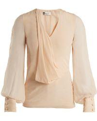 Lanvin - V-neck Draped-front Silk Blouse - Lyst