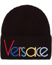Versace - Vintage Logo Knit Beanie Hat - Lyst