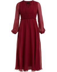 Giambattista Valli - Gathered Silk Chiffon Dress - Lyst