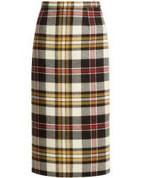 Miu Miu - Tartan Wool Pencil Skirt - Lyst