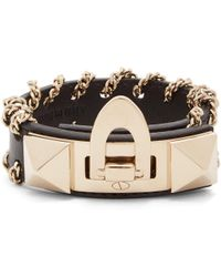 Valentino - Rockstud Whipstitched-chain Leather Bracelet - Lyst