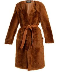 Rochas - Belted Collarless Shearling Coat - Lyst