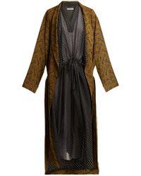 Balenciaga - V Neck Polka Dot Print Dress - Lyst