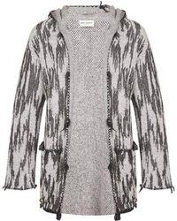 Saint Laurent - Jacquard-knit Hooded Cardigan - Lyst