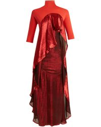 Paula Knorr Drape Jersey And Silk Blend Lamé Dress
