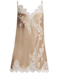 Carine Gilson - Lace-trimmed Silk-satin Cami Dress - Lyst