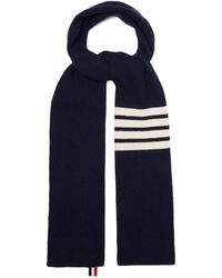 Thom Browne - Stripe-detail Ribbed-knit Cashmere Scarf - Lyst