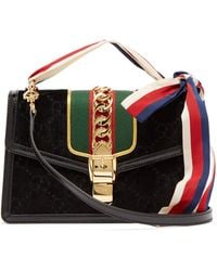 49cb7edd0b56f Lyst - Gucci  gg Marmont 2.0  Floral Embellished Quilted Velvet ...