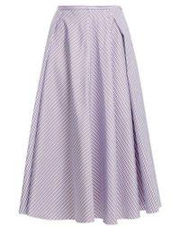 Rochas - Striped Cotton Midi Skirt - Lyst