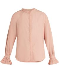 Bliss and Mischief - Ruffled Cuff Poplin Blouse - Lyst