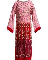 Saloni - Maki Embroidered Silk Kaftan - Lyst