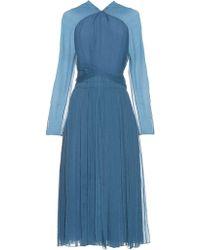 Nina Ricci - Long-sleeved Silk Midi Dress - Lyst