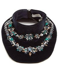 Mary Katrantzou - - Crystal Embellished Velvet Bib Necklace - Womens - Navy - Lyst