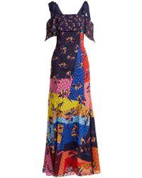 Mary Katrantzou - Canasta Floral And Polka Dot Fil Coupé Gown - Lyst