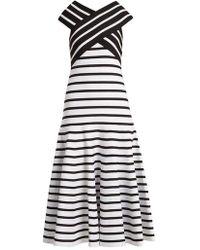 Carolina Herrera - V-neck Flared-skirt Striped Dress - Lyst