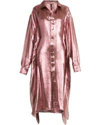 Paula Knorr - Big Long Sleeved Silk Blend Lamé Shirt - Lyst
