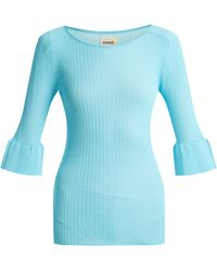 Khaite - Jean Bell Cuff Ribbed Knit Top - Lyst