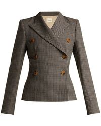 Khaite - Cathy Double-breasted Houndstooth Wool Blazer - Lyst