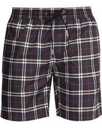 Burberry - Check Print Swim Shorts - Lyst