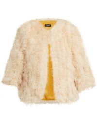 Yves Salomon - Cropped Feather Embellished Jacket - Lyst