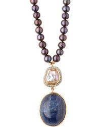 Jade Jagger - 18kt Gold, Sapphire & Pearl Necklace - Lyst