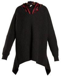 Balenciaga - Scarf-detail Ribbed Sweater - Lyst