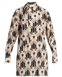 Valentino - Love Blade-print Silk Blouse - Lyst