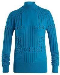 Mary Katrantzou - Hardy High-neck Panelled Ribbed-knit Sweater - Lyst