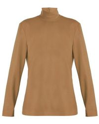 Sara Battaglia - High-neck Long-sleeved Wool-blend Top - Lyst