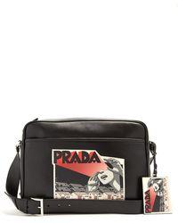 Prada - Comic-strip Print Leather Messenger Bag - Lyst