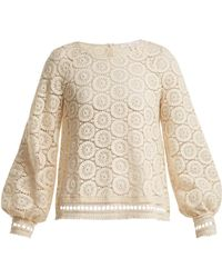 See By Chloé | Geometric-lace Cotton Blouse | Lyst