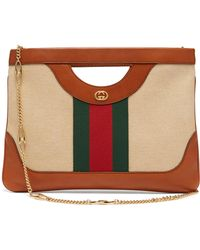 b90ec596d49 Gucci - Web Stripe Canvas And Leather Tote Bag - Lyst