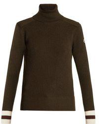 Moncler - Contrast-cuff Roll-neck Wool Jumper - Lyst