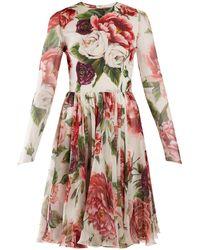 Dolce & Gabbana - Peony And Rose Print Chiffon Mini Dress - Lyst