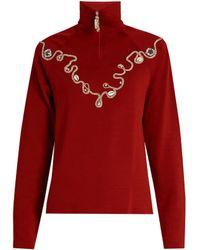 Wales Bonner | Karim Embellished Wool-blend Top | Lyst