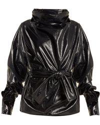 Wanda Nylon - Funnel Neck Tie Waist Coated Cotton Blend Top - Lyst