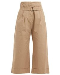 Brunello Cucinelli - High-rise Cropped Cotton-blend Trousers - Lyst